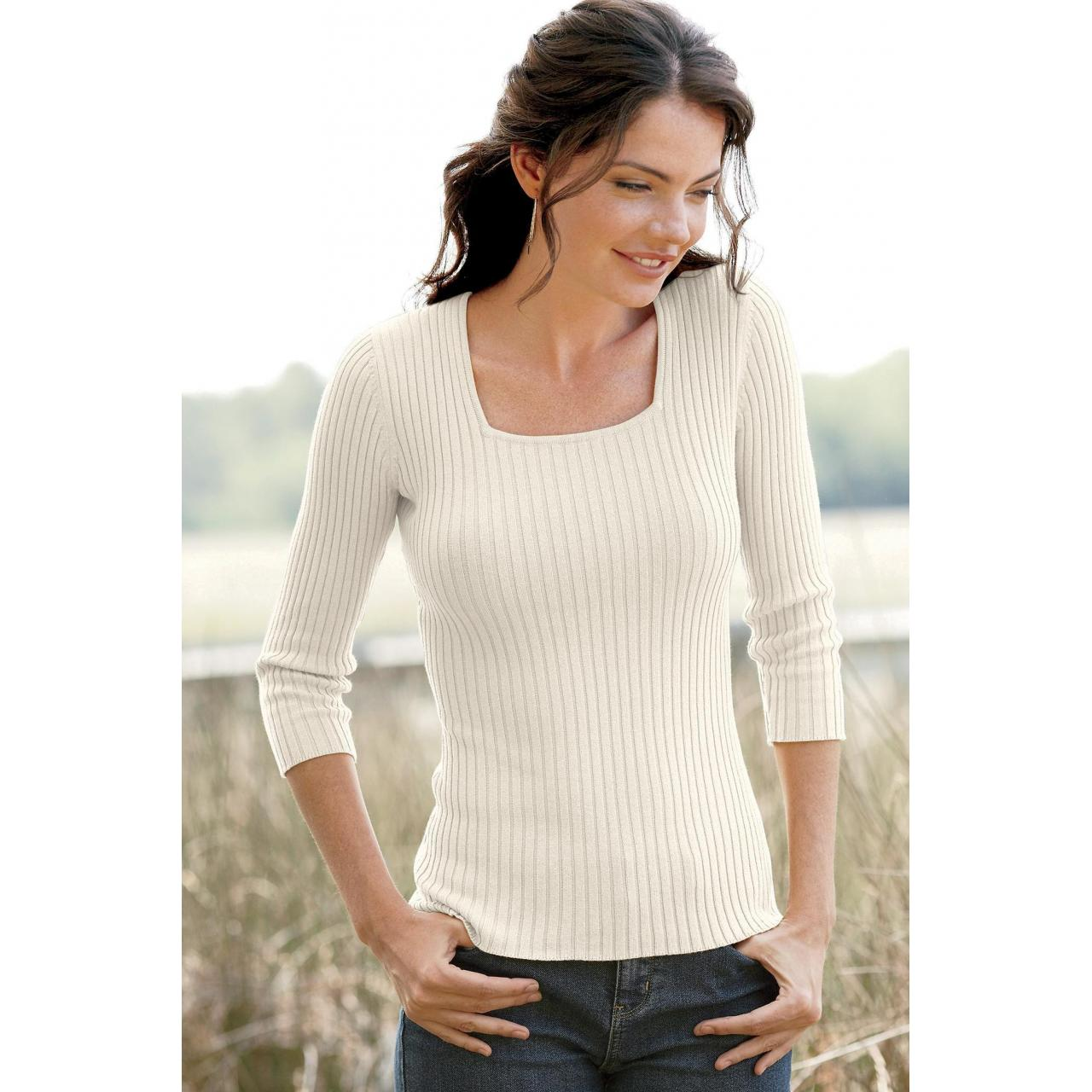 Buy cheap 09281 Ribbed Square Neck Sweater from wholesalers