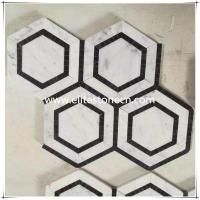 China ES-W38 Hexagon Carrara white and Black Marquina marble mosaic floor tile on sale
