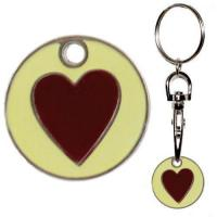 China Shopping Trolley token or shopping trolley coin - Heart design by keyringz wholesale