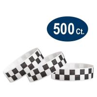 "China Black Checkered / Checks 3/4"" Tyvek Wristbands - 500 Pack Paper Wristbands For Events wholesale"
