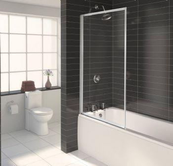 Quality Aqualux Euro Framed Bath Screen - White Height - 1375mm for sale