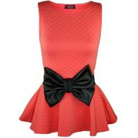 China RM Fashions New Women Plus Size Quilted and Printed Bow Peplum Party Top Coral US 16 (UK 20) on sale
