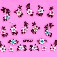 24 Designs Optional 3D colorful Europe Style Flower Nail Sticker Decals XF627-XF650 Item47-14
