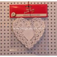 China Heart shape paper doily header card 6.5inch on sale
