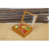 China 6 bamboo tea box storage boxes with acrylic cover Modle: 61914594716 wholesale