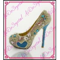 China Aidocrystal mix colorful bule heart crystal rhinestones high heels handmade women evening shoe wholesale
