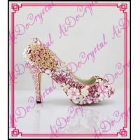 China Aidocrystal pink and lovely rhinestones crystal shoes ladies high heel shoes for bride wholesale