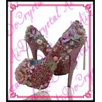 China Aidocrystal baby pink costum rhinestone flower high heels,party prom shoes for summer wholesale