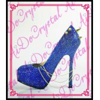 China Aidocrystal sexy blue women spikey shoes italian shoes for ladies crystal wedding party pums on sale