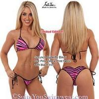 China Limited Edition Bikinis Hot Pink Zebra Swimsuit with black trim, scrunch butterfly wholesale