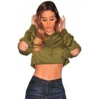 China New Arrivals Olive Ripped Hoodie Crop Top wholesale