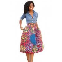 China New Arrivals Vintage High Waist Africa Print A-lined Midi Skirt wholesale