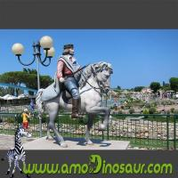 China Life size colorful cartoon statue of soldier on a horse for park wholesale