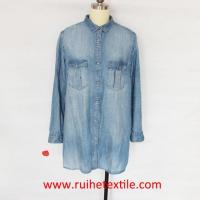 China Casual Women Denim Shirt Long Sleeve Jean Shirt for Ladies on sale