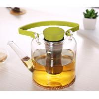 China Heat Resistant Glass infuser Teapot with Metal Tea Strainer 1 Litre on sale
