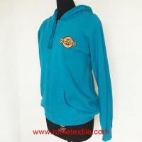 China Blue Casual Zip Hoodie, Casual Cotton Fleece Hoodie for Adults wholesale