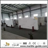 China White Calacatta Quartz Slabs For Countertops With Grey And Gold Stone Grain on sale