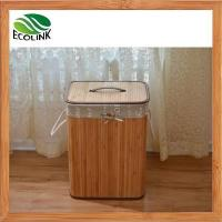 China Foldable Bamboo Laundry Basket Hamper with Lid and Liner wholesale