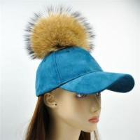 China Unique Style Leather Suede Cap Raccoon Fur Baseball Hat wholesale