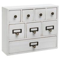 China Small White Shabby Chic Wood Library Card Catalog Style Storage Cabinet / 8 Drawer Jewelry Organizer wholesale