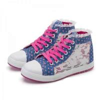 China Lace Flowers Breathable Mesh Casual Canvas Shoes for Women - Blue + Rose + White (Europe 40 / Pair) on sale
