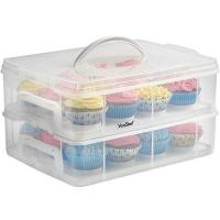 China VonShef Snap and Stack Cupcake Storage Carrier 2 Tier - Store up to 24 Cupcakes or 2 Large Cakes on sale