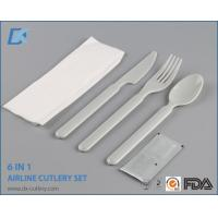 China High Quality Wholesale White Handle Plastic Cutlery Sets with Napkin on sale