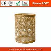 China Attractive Metal Brush Gold Painting Flower Shape Decor Lamp Shade on sale