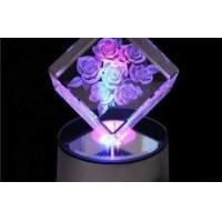 China 3d Laser Crystal Cubes With Led Light Base wholesale