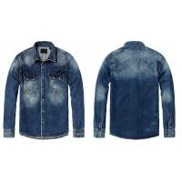 China Men Fitted Denim Shirt on sale