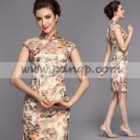 China Champagne flowers embroidered lace plus size silk cheongsam dress wholesale