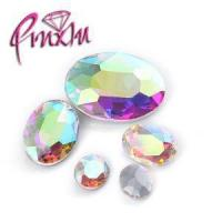Shiny Crystal AB Oval Fancy Rhinestones Pointed Silver Back Strass for Nail Art 6x8mm
