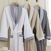 China Velour 100% White Cotton Bathrobe With Luxury Embroidery For Hotel wholesale