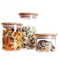 China Round Shape Glass Food Storage Jar Set with Airtight Bamboo Lid wholesale