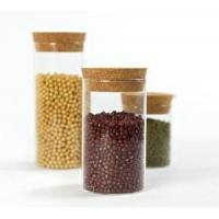 China Glass Jar Borosilicate Storage Canister with Cork Stopper for Cookie Candy Spice Tea Cereal Storage wholesale