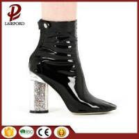 China Crystal high heeled short leather boots wholesale