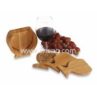 China Bamboo Coasters Wine Glass Shaped Neutral Toned With Set of 4 wholesale