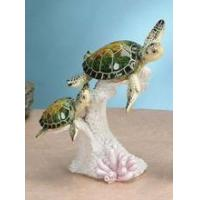 "China Mom & Baby Green Sea Turtles Swimming 7.5"" H ANIMAL ITEMS wholesale"