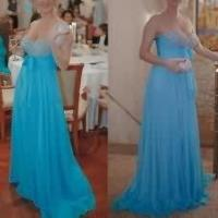 China Sleeveless Long Chiffon Women Party Dresses with Crystals Sweetheart Neckline on sale