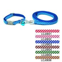 China Twill Toy Dog & Cat Print Collar Leash Set 0.8cm wholesale