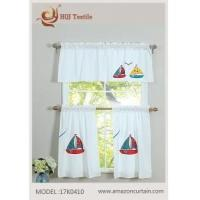China Luxurious Embroidery 3 Piece Kitchen Curtain Tier & Valance Set MODEL # 17K0410 wholesale