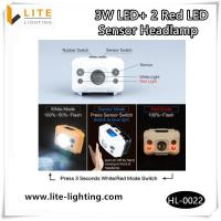 Outdoor Lighting 3W LED 2 Red LED Sensor Headlamp
