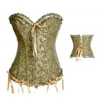 China Plus Size Sexy Lace up Satin Boned Corset Clubwear Bridal Lingerie + G-string Green 819 wholesale
