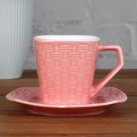 China 6OZ Pink Woven pattern cup and saucer wholesale