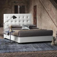 China White Modern Queen Headboard Tufted Leather Storage Upholstered Bed with Drawers wholesale