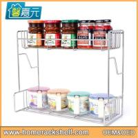 China Stainless Steel 3 Layers Spice Rack Innovative Multi-function Hanging Spice Storage Rack wholesale