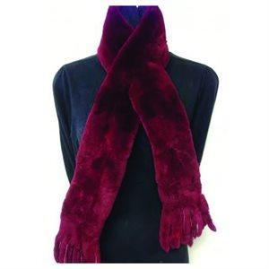 Quality Fur Scarf - Solid Red for sale