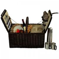 China Picnic at Ascot Surrey Willow Picnic Basket with Service for 2 with Coffee Set - London Plaid on sale