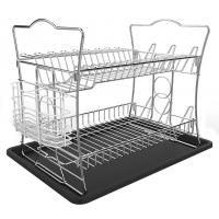 China IZLIF 2-Tier Dish Rack Set and Drainboard with Removable Utensil Cutlery Cup,Chrome Finish wholesale