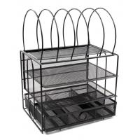 China EasyPAG Mesh 3 Tier Desk Organizer Tray with 5 File Letter Sorter and Drawer on sale